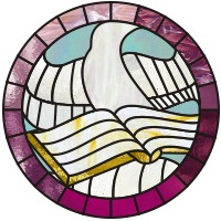 Dove and Bible stained glass pattern