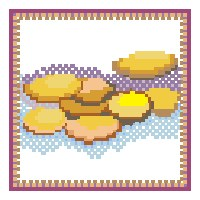 Cross stitch Chanukkah gelt